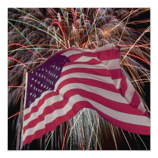 Bandeira americana e fogos-de-artifício convite quadrado 13.35 x 13.35cm