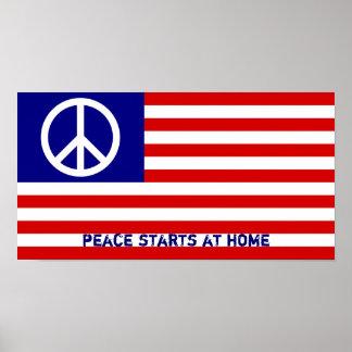 Bandeira americana e sinal de paz poster