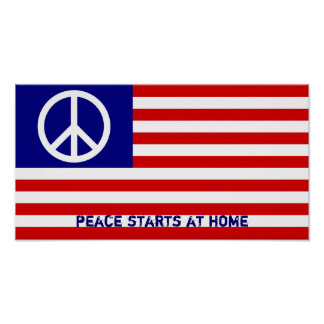 Bandeira americana e sinal de paz pôster