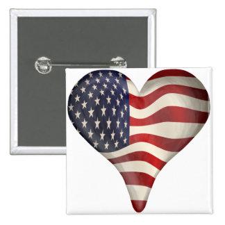 Bandeira americana em um coração boton