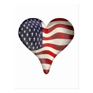 Bandeira americana em um coração cartão postal