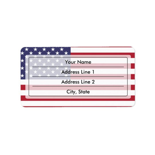Bandeira americana etiqueta de endereço