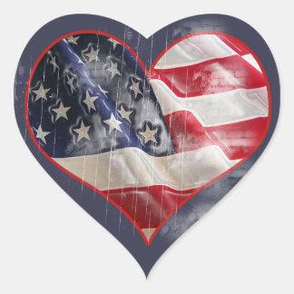 Bandeira americana, etiqueta do coração da adesivo coração