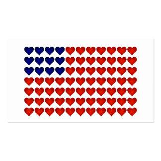 Bandeira americana feita dos corações cartão de visita