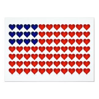 Bandeira americana feita dos corações convite 12.7 x 17.78cm