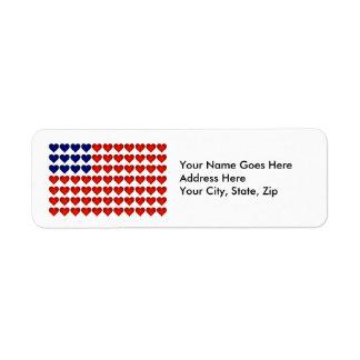 Bandeira americana feita dos corações etiqueta endereço de retorno