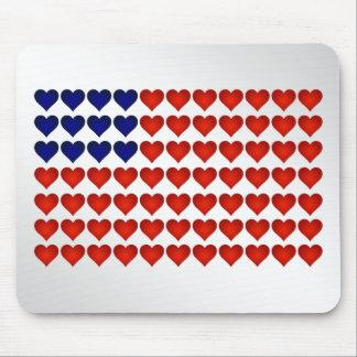 Bandeira americana feita dos corações mousepad
