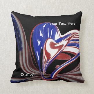 Bandeira americana feita sob encomenda do coração travesseiros