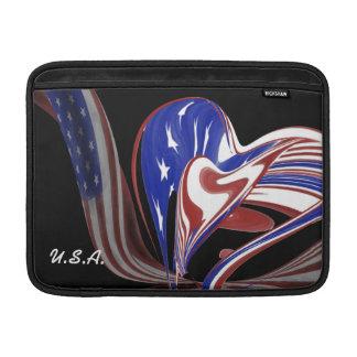 Bandeira americana feita sob encomenda do coração bolsas para MacBook air