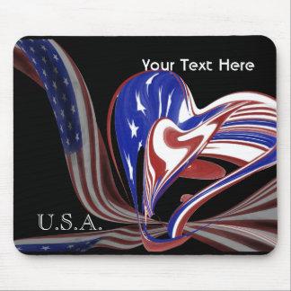 Bandeira americana feita sob encomenda do coração mousepad