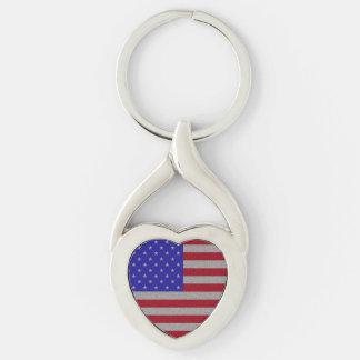 Bandeira americana Glittery Chaveiro Coração Torcido Cor Prata