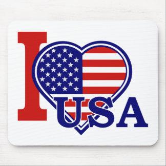 Bandeira americana Mousepad da forma do coração