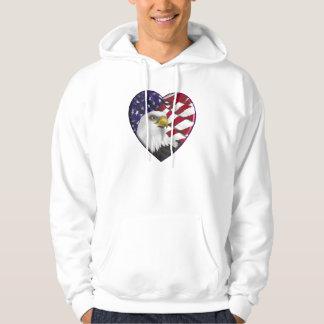 Bandeira americana n Eagle do coração Moleton Com Capuz