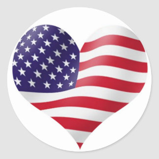 Bandeira americana na forma do coração adesivos redondos