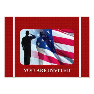 Bandeira americana patriótica com soldado de convite 12.7 x 17.78cm