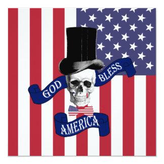 Bandeira americana patriótica convite quadrado 13.35 x 13.35cm