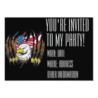 Bandeira americana patriótica dos EUA da águia Convite 12.7 X 17.78cm