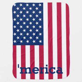 'Bandeira americana patriótica personalizada do Manta Para Bebe
