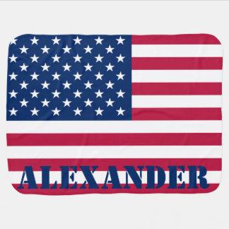 Bandeira americana personalizada mantas de bebe