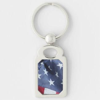 Bandeira americana chaveiro retangular cor prata