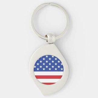 Bandeira americana chaveiro espiral cor prata