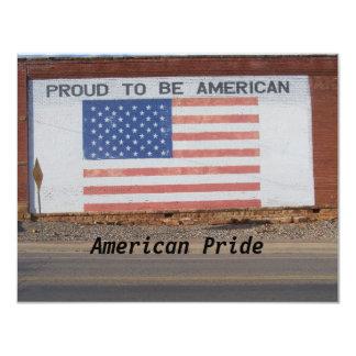 Bandeira americana pintada na construção velha convite 10.79 x 13.97cm
