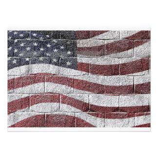 Bandeira americana pintada na textura da parede de convite personalizado