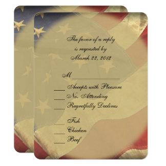 Bandeira americana que Wedding RSVP com escolhas Convite 10.79 X 13.97cm