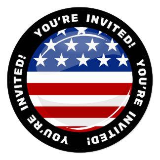Bandeira americana redonda lustrosa convite quadrado 13.35 x 13.35cm