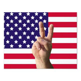 Bandeira americana & sinal de paz convite 10.79 x 13.97cm