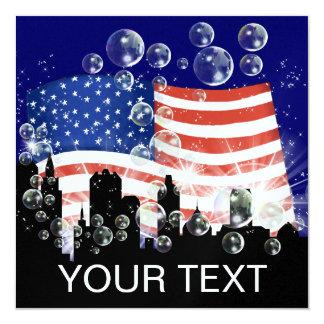 Bandeira americana - SRF Convite Quadrado 13.35 X 13.35cm