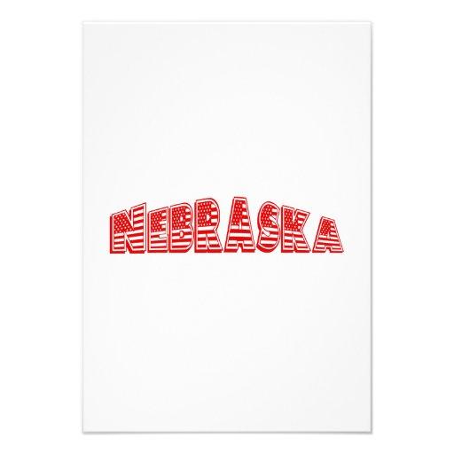 Bandeira americana vermelha Nebraska Convite Personalizados