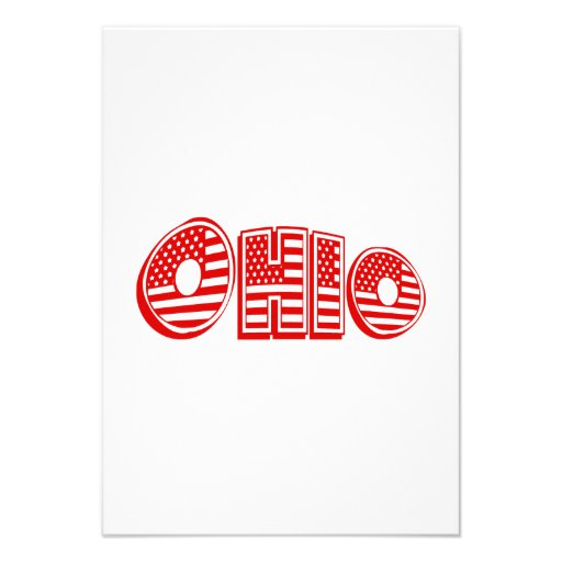 Bandeira americana vermelha Ohio Convites Personalizados