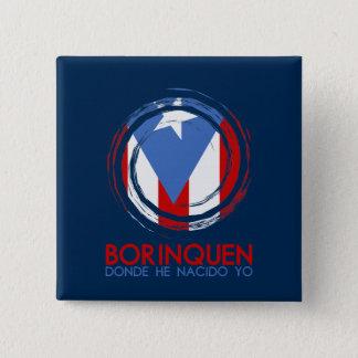 Bandeira Borinquen de Puerto Rico Bóton Quadrado 5.08cm