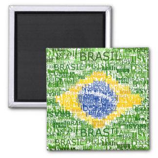 Bandeira brasileira - Brasil Textual Ímã Quadrado