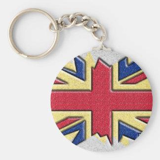 Bandeira britânica da prata do n do ouro multi - c chaveiro