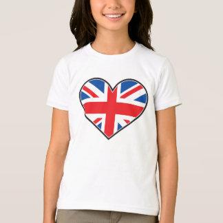 Bandeira britânica em um coração tshirts