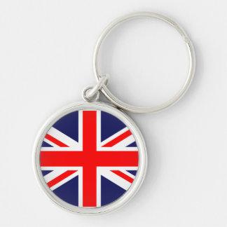 Bandeira BRITÂNICA em uma corrente chave Chaveiro Redondo Na Cor Prata