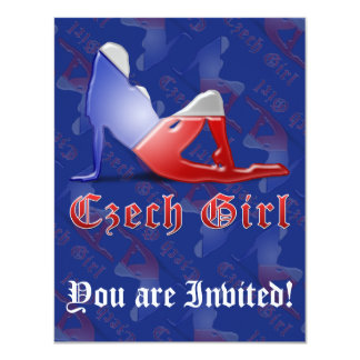 Bandeira checa da silhueta da menina convite 10.79 x 13.97cm