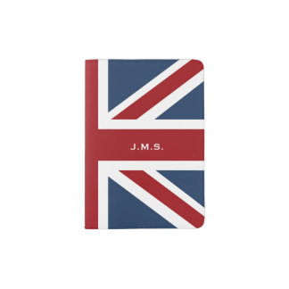 Bandeira clássica de Union Jack Monogrammed Capa Para Passaporte