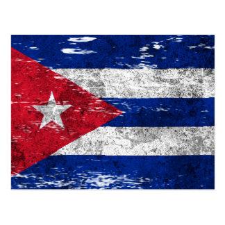 Bandeira cubana arrastada e vestida cartão postal