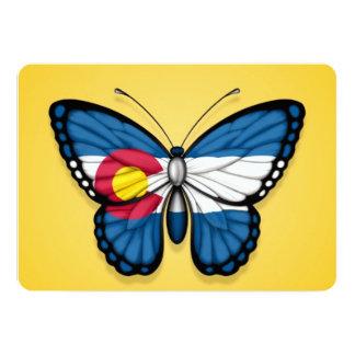 Bandeira da borboleta de Colorado no amarelo Convites Personalizado