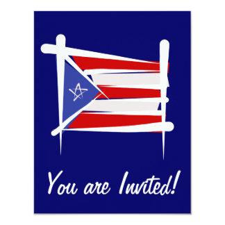 Bandeira da escova de Puerto Rico Convites Personalizados