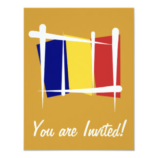 Bandeira da escova de República do Tchad Convite 10.79 X 13.97cm