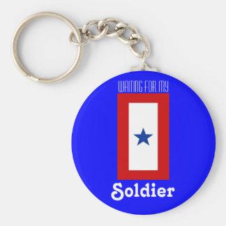 Bandeira da estrela azul - fundo azul chaveiro