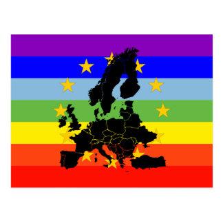Bandeira da paz do Europa e das estrelas Cartão Postal