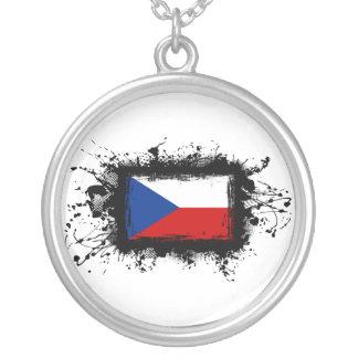Bandeira da república checa colar banhado a prata