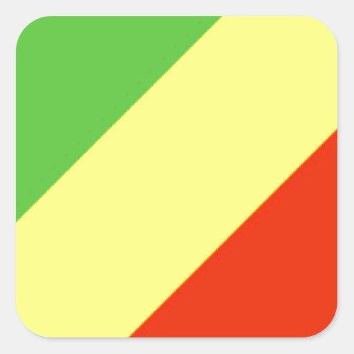 Bandeira da República Democrática do Congo Adesivos Quadrados