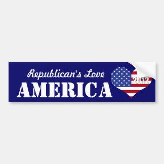 Bandeira dada forma coração do amor America-U.S. d Adesivo Para Carro