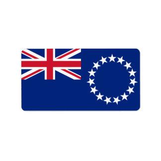 Bandeira das etiquetas das Ilhas Cook Etiqueta De Endereço